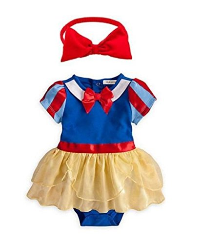 StylesILove Snow White Inspired Photo Prop Baby Girl Dress Costume and Headband 2-pc (80/6-12 (Snow White Inspired Outfit)