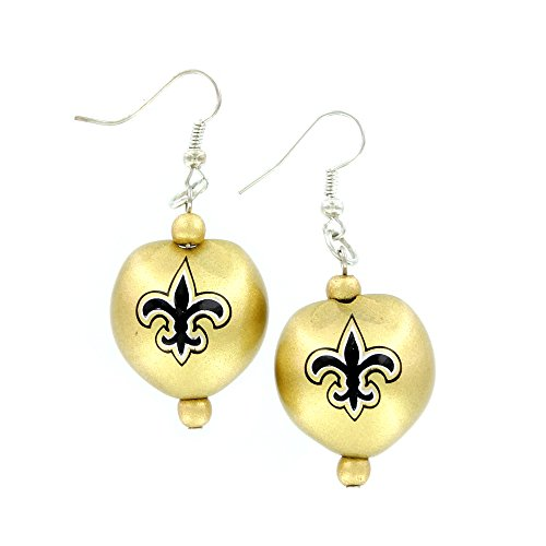 NFL New Orleans Saints Kukui Nut Earrings, Black/Gold