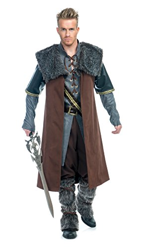 Charades Men's Medieval Warrior Costume, Gold, Large