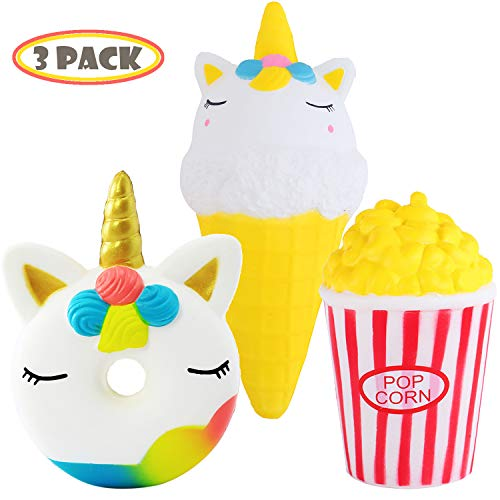 Vigeiya 3 Pack Squishies Toys Squishy Slow Rising Unicorn Donut Squishy Jumbo Ice Cream Squishy Prime Popcorn Kawaii Animal Food