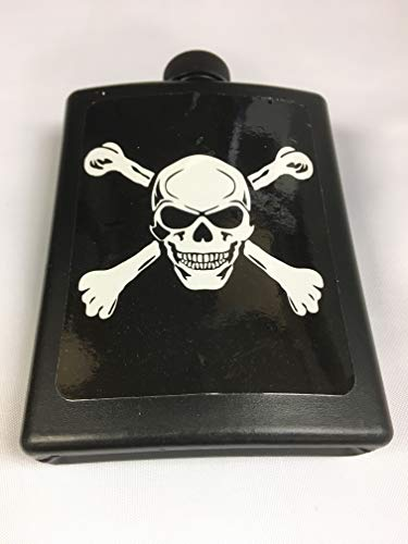 Black Recycled Plastic Flask - Skull and Crossbones - Gothic Design ()