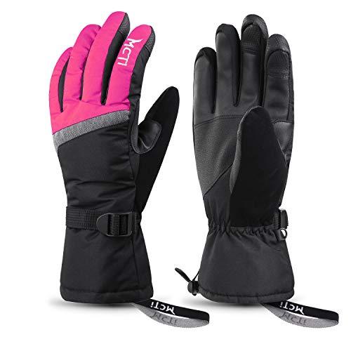 MCTi Ski Gloves,Winter Waterproof Snowboard Snow 3M Thinsulate Warm Touchscreen Cold Weather Women Gloves Wrist Band Rose Red Medium (Best Snowboard Apparel Brands)