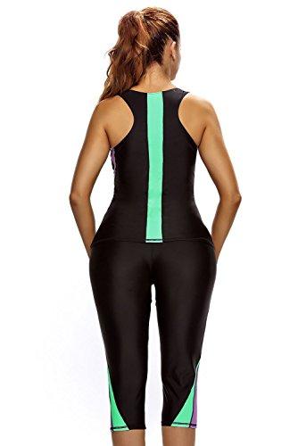 New nero Active 2PCS senza maniche costume da bagno tankini set bikini Swimsuit Swimwear estivo taglia UK 10EU 38