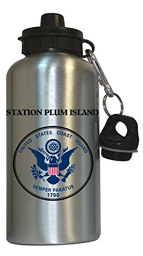 Station Plum Island - US Coast Guard Water Bottle Silver, 1023 from Custom Image Factory
