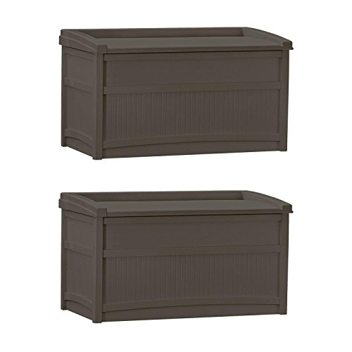 Pool Deck Box Suncast (Suncast 50 Gallon Stay Dry Resin Outdoor Deck Storage Box w/ Seat, Java (2 Pack))