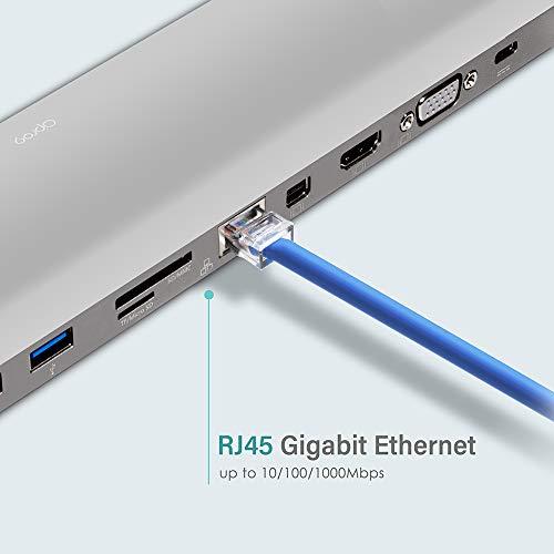 OPRO9 11in1USB C Hub Adapter with HDMI VGA MiniDP SD Card Reader 3 x USB 30 Ports Gigabit Ethernet