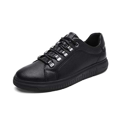 RYRYRB Men's Lightweight Sole Nappa Leather/Cowhide/PU (Polyurethane) Spring Comfortable Sports Shoes Running Shoes/Hiking Shoes/Cycling Shoes Black/Walking Shoes Simple and Comfortable casu