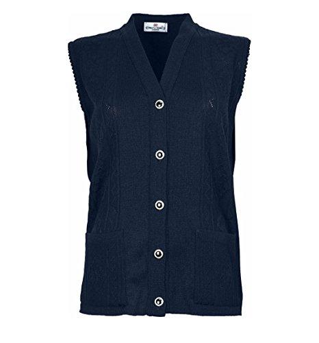 Cardigan maglia senza a gilet navy blu donna da maniche XXrzgH