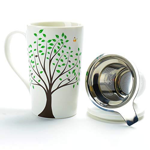 TEANAGOO M058-3 Taza de te de ceramica con infusor y tapa, 510 ml, Green Tree, Teaware de viaje con filtro, Tea Cup Steeper Maker, Colador de preparacion para te de hojas sueltas