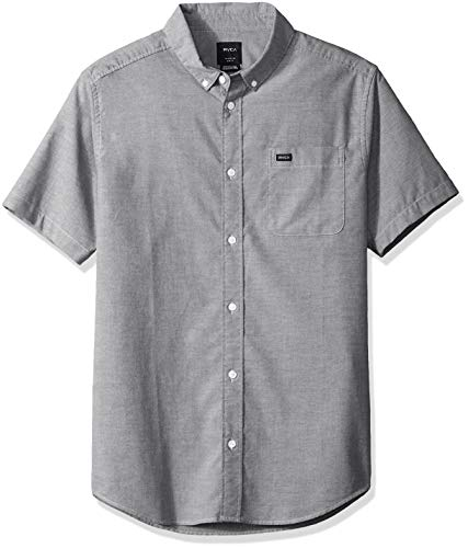 RVCA Men's Thatll DO Stretch Short Sleeve Woven Button UP Shirt, Distant Blue, S (S/s Button Up Shirt)