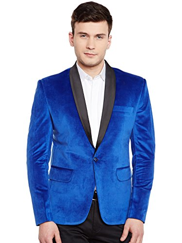Wintage Men's Premium Velvet Notch Lapel Tuxedo Coat Blazer Jacket: Blue, XL