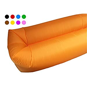 Inflatable Lounger Couch Camping Air Sofa Sleeping bag Waterproof Outdoor Bed Portable Compression Sacks With Carry bag Great furniture to use as bed hammock Chair Mattress Floats Water (Orange)