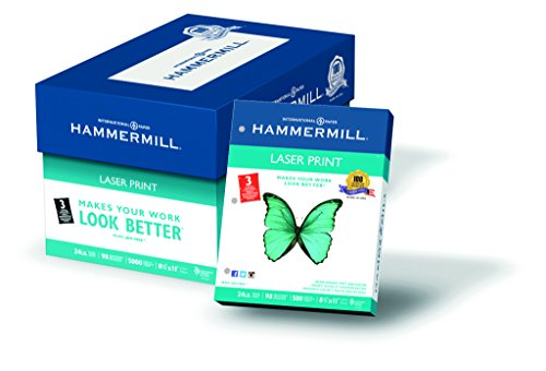 Hammermill Paper, Laser Print, 24lb, 8.5 x 11, Letter, 3 Hole, 98 Bright, 5,000 Sheets / 10 Ream Case (107681C), Made in the USA by Hammermill
