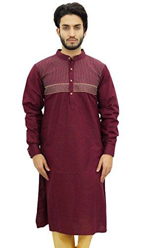 Linen Kurta - Atasi Men's Maroon Linen Long Kurta Casual Shirt Style Ethnic Wear-Large