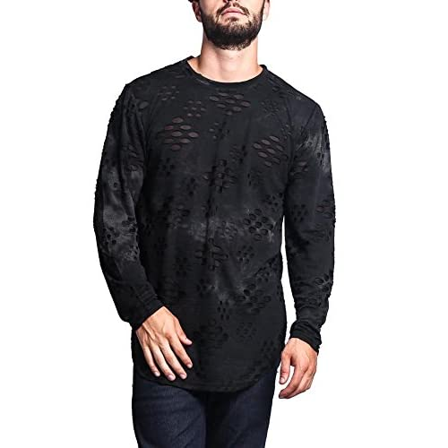 Top G-Style USA Ripped Dye Long Length Curved Hem Long Sleeve T-Shirt