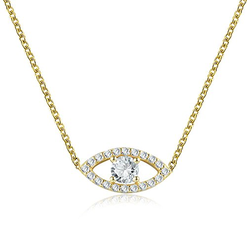 Sterling Silver CZ Evil Eye Necklace 16-18.5 Inch Adjustable 14K Yellow Gold ()