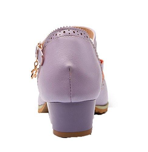 d'orteil PU Violet Sandales Bas Talon Femme 40 ¨¤ Boucle Cuir GMBLA014755 Ouverture AgooLar z8qTSpp