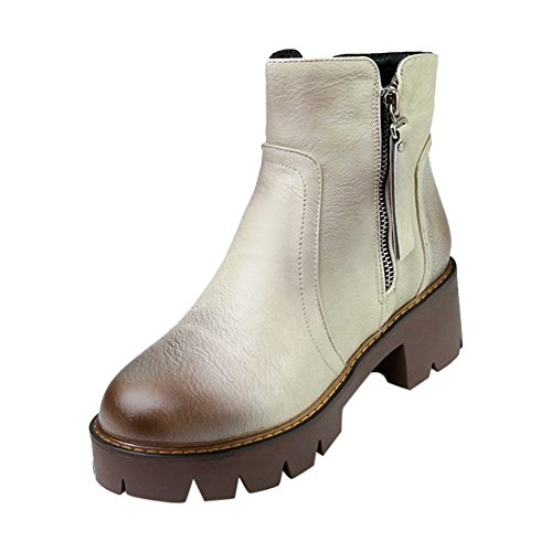 Carolbar Womens Zip Retro Vintage Fashion Platform Mid Heel Short Boots Grey r7hfAKOqmW