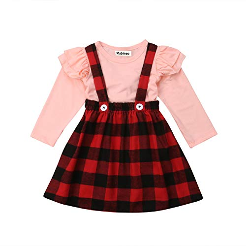 Toddler Baby Girl Infant Plain T Shirts Plaid Overall Skirt Set Cotton Outfits (Pink+Red, 12-24 Months)