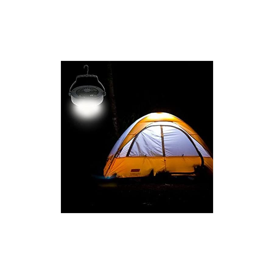 Portable LED Camping Lantern Flashlights with Ceiling Fan for Outdoor Hiking Tent Lamp Battery Powered with Cord for USB Plug in