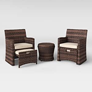 Amazon Com Halsted 5 Piece Wicker Small Space Patio
