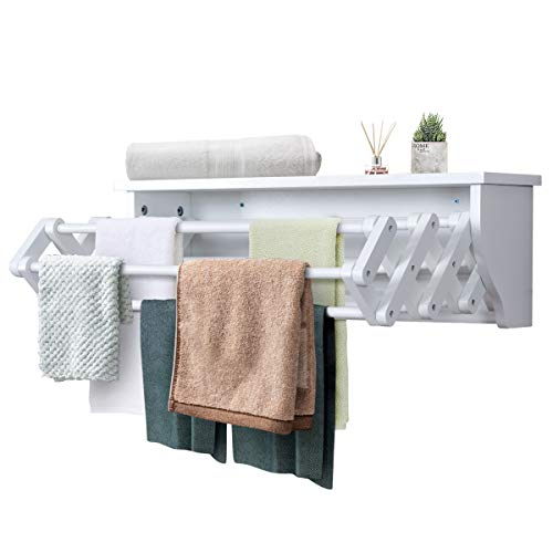 Tangkula Wall Mount Drying Rack Bathroom Home Expandable Towel Rack Drying Laudry Hanger Clothes Rack (Wood) from Tangkula
