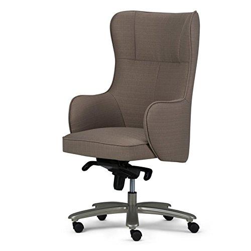 Simpli Home AXCOCHR-02 Leeds Swivel Adjustable Executive Computer Wingback Office Chair in Warm Grey Linen Look Fabric