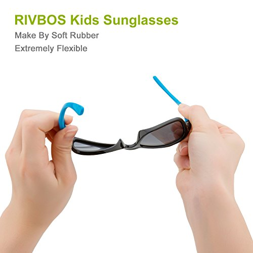 RIVBOS RBK025 Rubber Flexible Kids Polarized Sunglasses Glasses for Baby and Children Age 3-10 (1511-black&blue)