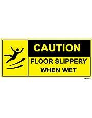 4 x gladde vloer wanneer nat - voorzichtigheid label teken verwijderbare zelfklevende waterdichte duurzame vinyl label sticker 225mm x 106mm