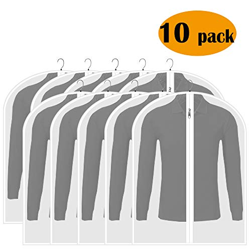 Adalite Garment Bag Clear Dust Proof Covers 31 inch Clothes Storage for Split Closet Space Saving Lightweight for Clothes Pack of 10