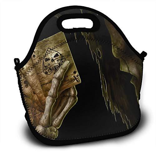 HeiZQheJ Sculpture Cards Skull Death Skeleton Poker Portable Lunch Bag Handbag with Shoulder Strap Lunch Box Lunch Storage Bags
