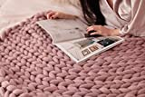 HomeModa Studio Super Chunky Knit Blanket, Merino Wool Blanket, Extrem Knitting, Chunky Blanket, Giant Super Chunky Knit Blanket (Blush Pink, Bed Runner -30X50 inches)