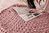 HomeModa Studio Super Chunky Knit Blanket, Merino Wool Blanket, Extrem Knitting, Chunky Blanket, Giant Super Chunky Knit Blanket (Blush Pink, Couch Throw -39 x 47 inches (100 cm x 120 cm))