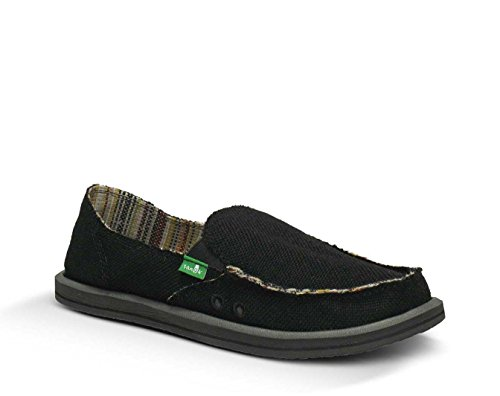 Sanuk Women's Donna Hemp Loafers & Oxy Shoe Cleaner Bundle Black