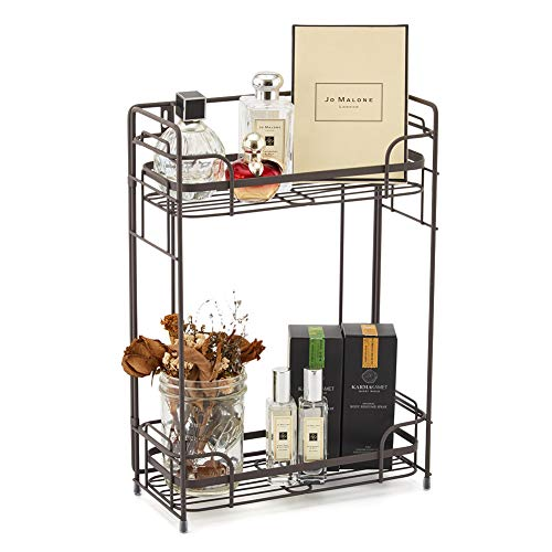 EZOWare Bathroom Countertop Shelf, 2-Tier Standing/Wall Mount Storage Organizer Rack Stand Holder for Kitchen Bathroom Cosmetic Jars Bottles ()