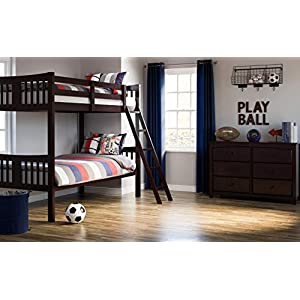Storkcraft Caribou Solid Hardwood Twin Bunk Bed, Espresso Twin Bunk Beds for Kids with Ladder and Safety Rail 12