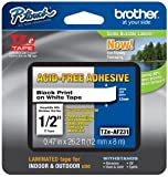 """2/Pack Genuine Brother 1/2"""" (12mm) Black on White Acid Free Adhesive TZe P-touch Tape for Brother PT-1750, PT1750 Label Maker"""