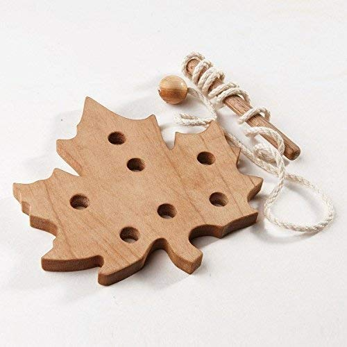 Maple Leaf Wooden Lacing Toy, Learning toy Threading set Fine Motor skills toy