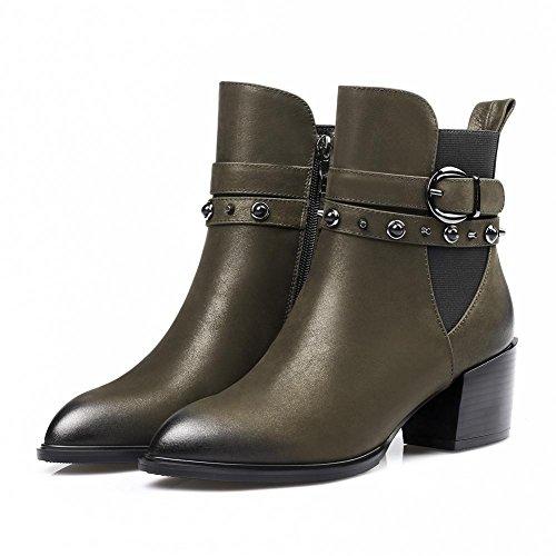Women High Heel Leather Boots, Inside Plush Rivet Buckle Side Zipper Shoes, Black Army Green, Size 34-42 3-42