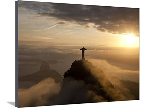 Art, Inc. Statue of Jesus, known as Cristo Redentor (Christ the Redeemer), on Corcovado Mountain in Rio De Janeiro, Brazil by Peter Adams, Stretched Canvas Print, 40x30 in (Statue Christ Rio Redeemer)