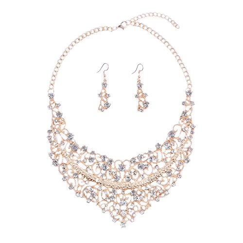 Yuhuan Women Alloy and Crystal Statement Necklace and Earring Set Wedding Jewelry (1#Gold)