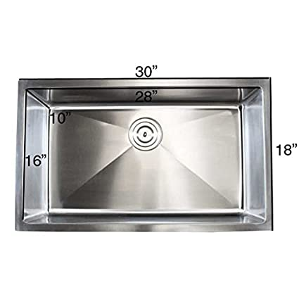 Contempo Living Inc Stainless Steel Undermount Single Bowl 15mm Kitchen  Sink 30