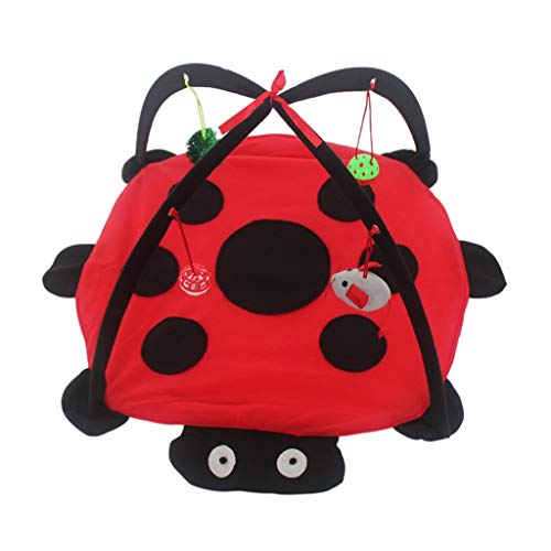 JSSFQK Cat Toy Cat Tent Foldable Cat Small Bed Bell Rat Ball Beetle Cat Toy pet Bed