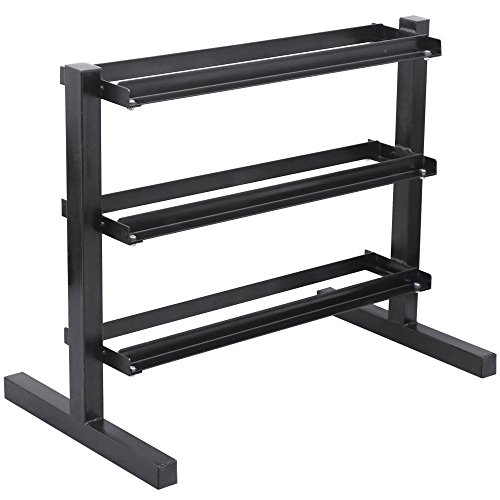 3 Tier Horizontal Dumbbell Rack for Hexagonal Dumbbells Weight Capacity 450 Lb B by Eight24hours