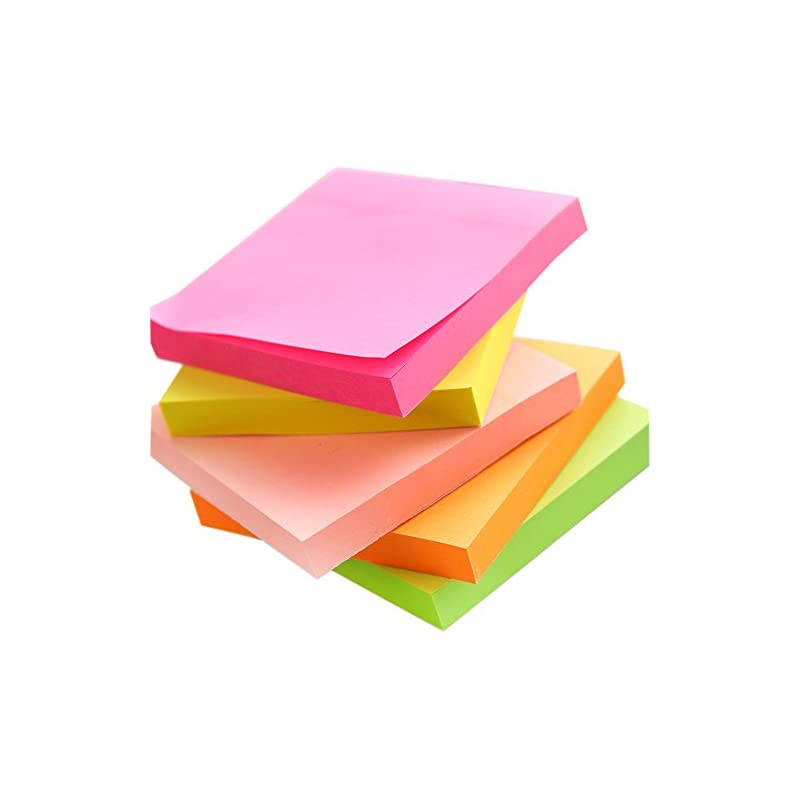 Sticky Notes Pads, 5 Bright Colors Easy