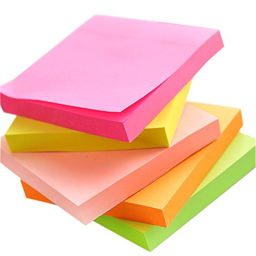 Sticky Notes Pads, 5 Bright Colors Easy Post Self-Stick Notes, 3 inch X 3 inch, 5 Pads/Pack, 100 Sheets/Pad Individual Package