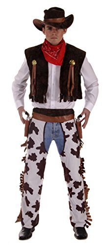 Henbrandt Men's Western Cowboy Fancy Dress Standard Brown And White