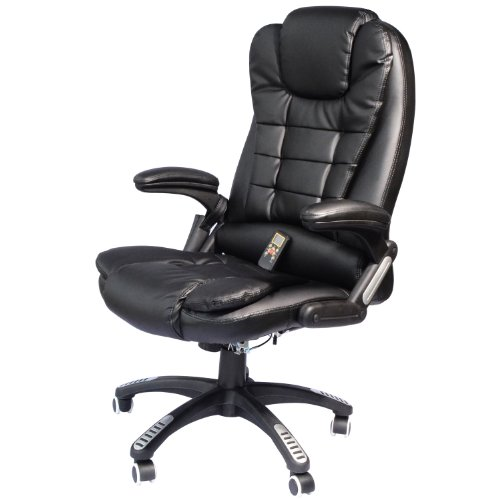 Price comparison product image HomCom Executive Ergonomic PU Leather Heated Vibrating Massage Office Chair - Black