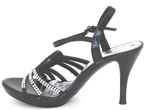 Dev Kvinners Glamours Strapy Prom Bryllupsfesten Rhinestones Hæl Kjole Sandal Sko Svart-39