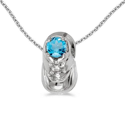 FB Jewels Solid 14k White Gold Genuine Birthstone Round Blue Topaz Baby Bootie Pendant (1/4 Cttw.) ()